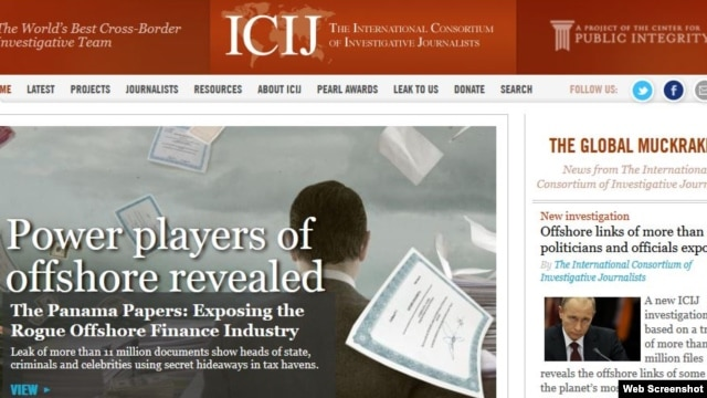 Ảnh chụp màn hình trang web của Hiệp hội các Nhà báo điều tra Quốc tế, trong đó đưa tin vụ Tài liệu Panama, có khả năng trở thành vụ rò rỉ thông tin nội bộ lớn nhất trong lịch sử.