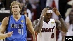 Las dos estrellas de los finales, Nowitzki por Dalllas y LeBron James, por Miami, tuvieron una actuación dispar en la tercera final.