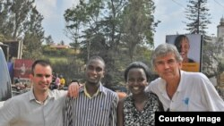 Team members gather in Kasese, Uganda for the Saturday climb: Left to right: guide David Rastouil, Makerere University student Richard Atugonza, Sheila Ruyondo of the World Youth Parliament for Water, and leader Luc Hardy (Photo by Pax Arctica)