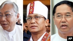 Tiga kandidat presiden Myanmar, dari kiri ke kanan: Htin Kyaw dan Henry Van Hti Yu dari Partai NLD, dan Myint Swe, kandidat dari militer.