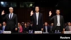 Các lạnh đạo Facebook, Twitter từng điều trần trước Quốc hội Mỹ hồi tháng 1/2017