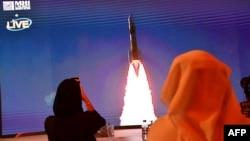"Tangkapan layar saat peluncuran misi pertama Uni Emirat Arab ke Mars bernama ""Hope"" dariTanegashima Space Center, Jepang yang terlihat dari pusat antariksa Mohammed Bin Rashid di Dubai, Uni Emirat Arab, Senin pagi (20/7) 1:58 waktu UEA."
