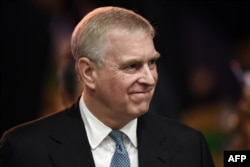 (FILES) In this file photo taken on November 03, 2019, Britain's Prince Andrew, Duke of York leaves after speaking at the ASEAN Business and Investment Summit in Bangkok, on the sidelines of the 35th Association of Southeast Asian Nations (ASEAN)…