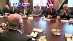 VOA60 America - President Trump and Iraqi Prime Minister Haider al-Abadi held their first in-person meeting