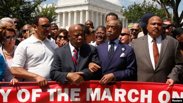 Lawmakers and civil rights leaders gather at the Lincoln Memorial in Washington to observe the 50th anniversary of the original March on Washington.