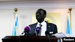 waziri wa mambo ya nje wa Sudan Kusini Barnaba Marial Benjamin,akiwa Juba.
