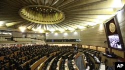 A view of a parliamentary session currently underway to select a house speaker in Bangkok, Thailand, Aug. 2, 2011.