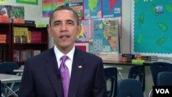 Presiden AS Barack Obama menyampaikan pidato mingguannya bagi rakyat Amerika, Sabtu (5/3).