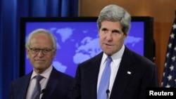 29일 존 케리 미국 국무장관이 국무부에서 기자회견을 가지고 있다.