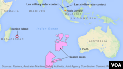 Previous search sites for MH370, and Reunion Island, where wreckage was found