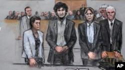 15일 미국 보스턴 마라톤 테러 재판이 진행된 법정 풍경을 묘사한 스케치.