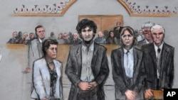 15일 미국 보스턴 마라톤 테러 재판이 진행된 법정 스케치.