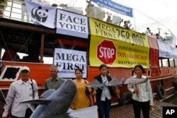 FILE - Cambodian non-governmental organization (NGOs) activists hold a cut-out of Mekong dolphin, left, and cut-out of other species during a protest against a proposed Don Sahong dam, in Phnom Penh, Cambodia, Sept. 11, 2014.