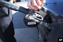 The fueling nozzle at one of the U.S. few gas stations offering compressed natural gas, or CNG.