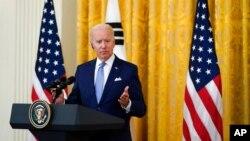 Presidente Joe Biden fala na Casa Branca, 21 de Maio de 2021