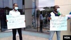 Jornalistas protestam contra investigações junto da Procuradoria-Geral da República, Luanda, Angola