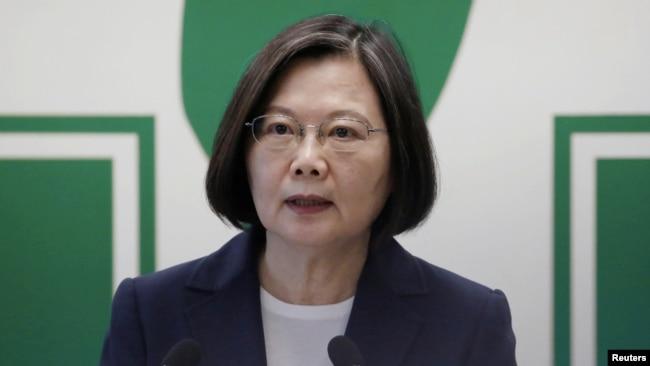 台湾总统蔡英文在台北对媒体发表讲话。(2020年8月12日)