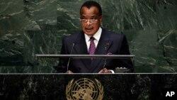 Denis Sassou Nguesso, président du Congo-Brazzaville, à l'ONU le 26 septembre 2014. (AP Photo/Richard Drew)