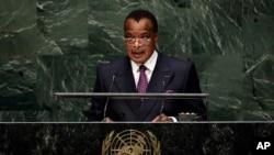 Denis Sassou Nguesso, président du Congo-Brazzaville, à l'ONU le 26 septembre 2014.
