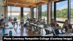 Students and faculty members meet at Hampshire College. (Photo courtesy of Hampshire College)