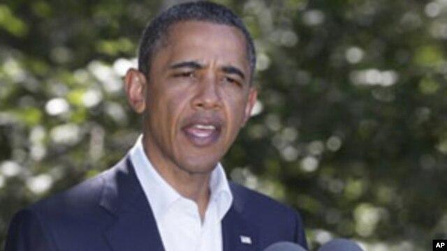 President Barack Obama speaks about Libya, Monday, Aug. 22, 2011, while on vacation on Martha's Vineyard, Mass.