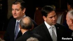 Los senadores republicanos Ted Cruz (izquierda) y Marco Rubio son los candidatos republicanos que están ganando más popularidad a medida que se aproxima el proceso de primarias.