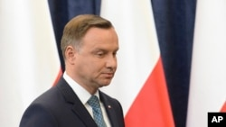 Polish President Andrzej Duda makes a statement in Warsaw, Poland, July 24, 2017.