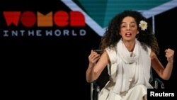 FILE - Masih Alinejad, Iranian journalist and women's rights activist, speaks on stage at the Women In The World Summit in New York, April 12, 2019.