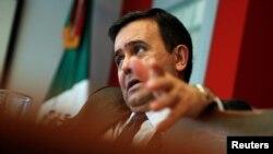 Ildefonso Guajardo, ministre mexicain de l'Economie, lors d'une interview à l'ambassade du Mexique à Washington, États-Unis, le 2 mai 2016