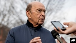 FILE - U.S. Commerce Secretary Wilbur Ross speaks to reporters outside the White House in Washington, Dec. 12, 2018.
