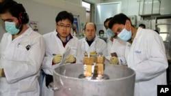 Para inspektur IAEA memeriksa para insinyur Iran di fasilitas nuklir Natanz saat mengurangi aktivitas pengayaan uranium hari Senin (20/1).