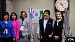 La comisión observadora integrada por Ana Guadalupe Medina, Roxana Silva, María Eugenia Villagrán y Libna Bonilla participaron de una entrevista para el programa Al Fondo de la Voz de América junto al periodista Tony Cano.