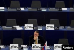 lovakia's MEP Branislav Skripek attends a debate on the protection of investigative journalists in Europe after the murder of Slovak journalist Jan Kuciak, at the European Parliament in Strasbourg, France, March 14, 2018.