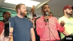 Abdi Warsame talks to supporters after his election. (Photo: Somali Service)