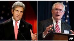 FILE - U.S. Secretary of State John Kerry, right, is shown Berlin, Dec. 5, 2016; Rex Tillerson, the secretary of state nominee, is pictured in Washington, March 27, 2015, in this composite photo.
