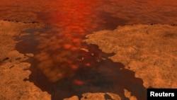 زحل کے سب سے بڑے چاند ٹائیٹن کی سطح کی یہ تصویر خلائی جہاز سے حاصل ہونے والے ڈیٹا کو سامنے رکھتے ہوئے ناسا کے ایک آرٹسٹ نے تیار کی ہے۔