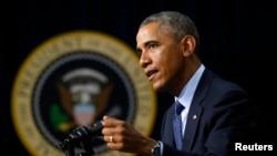 U.S. President Barack Obama speaks at the Global Health Security Agenda Summit at the White House in Washington, Sept. 26, 2014.