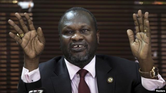 FILE - South Sudan's rebel leader Riek Machar addresses a news conference in Uganda's capital Kampala, Jan. 26, 2016.
