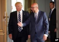 美国总统川普和比利时首相查理斯·迈克尔在布鲁塞尔会谈之前(2017年5月24日)