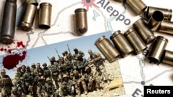 Группа предположительно российских наемников из «ЧВК Вагнера» в Сирии. 2014-2015 годы, коллаж