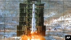 A screen at the General Satellite Control and Command Center shows the moment North Korea's Unha-3 rocket is launched in Pyongyang, North Korea, Wednesday, Dec. 12, 2012. North Korea announced on February 12 that it had conducted its third nuclear test.
