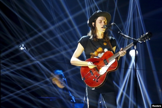 British singer James Bay performs during the MTV EMA awards at the Assago forum in Milan, Italy, Oct. 25, 2015.