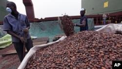 Stockage du cacao au port d'Abidjan