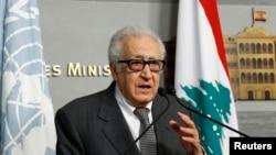 联合国叙利亚特使卜拉希米11月1日在黎巴嫩举行的记者会上。