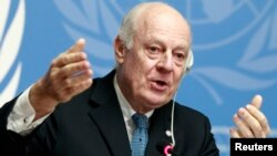 FILE - U.N. Special Envoy for Syria Staffan de Mistura speaks to media during a news conference in Geneva, Jan. 15, 2015.