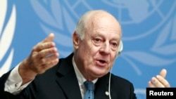 FILE - United Nations Special Envoy of the Secretary-General for Syria Staffan de Mistura speaks to media during a news conference in Geneva, Jan. 15, 2015.