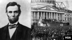 Abraham Lincoln and scene from his inauguration.