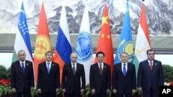 Lãnh đạo các quốc gia SCO tại Đại lễ đường Nhân dân ở Bắc Kinh, 6/6/2012