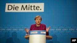 Nemačka kancelarka i predsednica Demohrišćanske unije CDU Angela Merkel na konferenciji za novinare u Berlinu.