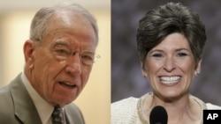 From left, Iowa Senators Chuck Grassley and Joni Ernst, both Republicans.